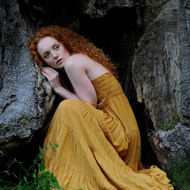 Dryad's Refuge by DJ Cockburn - People Portraits of Women ( natural light, nature, crouch, dress, woman, forest, redhead, ivory flame, portrait,  )