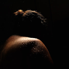 Shower in Darkness by Michael Hurley - Nudes & Boudoir Artistic Nude ( boudoir, water on skin, shower, waterdrops, light on waterdraop )