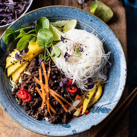 30 Minute Asian Basil Beef and Mango Noodle Salad.