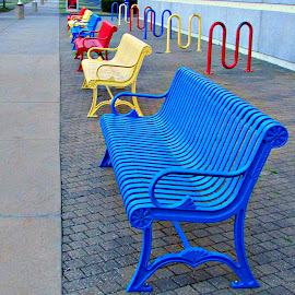 Brought To You In Color by Vince Scaglione - City,  Street & Park  City Parks ( sit, benches, bench, color, seat, colors, seats, down )
