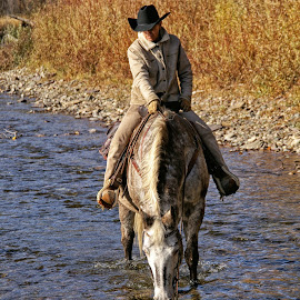 A Drink at the River by Twin Wranglers Baker - Transportation Other ( ride, water, crossing, rider, riding, drinking, trail, drink, horse, western, appaloosa, autmn, river )