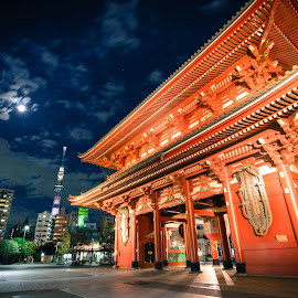 Asakusa - Tokyo Sky Tree under moonlight by Septian Fazrullah - Buildings & Architecture Statues & Monuments