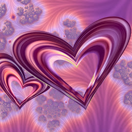 Hearts 2 by Cassy 67 - Illustration Abstract & Patterns ( abstract, hearts, heart, valentines, purple, swirl, wallpaper, digital, feather, valentine´s day, love, digital art, pink, day, fractal, fractals )