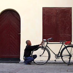 My Bicycle by Hernan Halim - People Portraits of Men