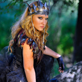 Evil Princess by Les Walker - People Portraits of Women ( princess, forest, evil, knife, wicked,  )