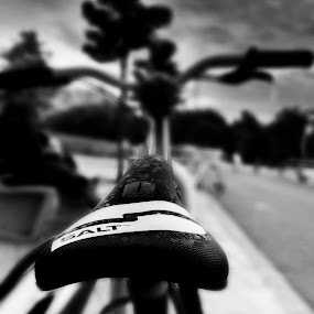 Ride by Tarun Jha - Instagram & Mobile iPhone ( ride, cycle, seat, black & white, weather, bycycle, vintage ride )