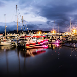 Cairns Marina at night by Callie Black - Transportation Boats (  )