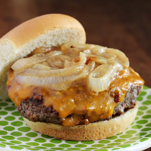 Cheddar Beer Burgers with Caramelized Dijon Onions