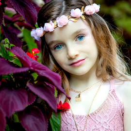 Flowers in her hair by Sylvester Fourroux - Babies & Children Child Portraits