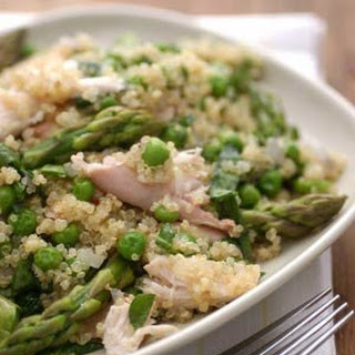 Quinoa Primavera with Chicken, Spring Peas and Asparagus