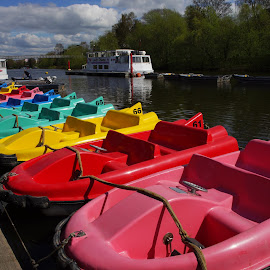 Colored Boats by Simon Matthews - Transportation Boats ( water, color, boats, exercise, fun, relaxation, health, river )