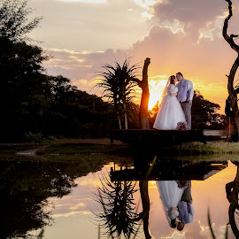 Sunset Wedding by Ellen Strydom - Wedding Bride & Groom ( couple, sunset, wedding, photography )