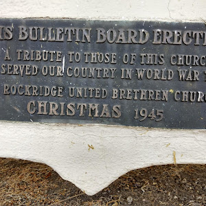 This bulletin board erectedas a tribute to those of this churchwho served our country in World War TwoRockridge United Brethren ChurchChristmas 1945 https://oaklandwiki.org/United_Brethren_Church