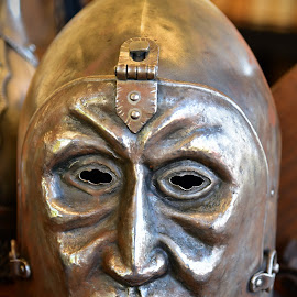 Helmet With A Face by Marco Bertamé - Artistic Objects Other Objects ( face, metal, middle age, helmet, medieval, war, knight )