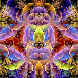 Double Devil Bubbles and Spirals by Peggi Wolfe - Illustration Abstract & Patterns ( abstract, wolfepaw, gift, unique, bright, illustration, spiral, fun, double, devil, digital, print, décor, bubble, pattern, color, unusual, fractal )