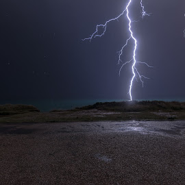 A Near Miss. by Roy Hornyak - Landscapes Weather ( lightning, electricity, storm, powerful, spark )