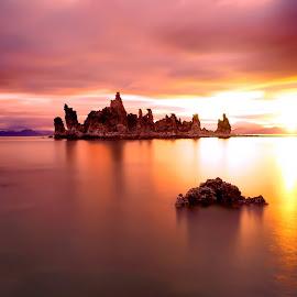 Mono @ Morning by Mike Lennett - Landscapes Waterscapes ( orange, mono lake, california, sunset, lake, pink, tufa, mike lennett, sunrise )