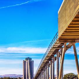 Coal Slough by Richard Michael Lingo - Buildings & Architecture Bridges & Suspended Structures ( suspended structure, coal, arizona, buildings, slough )