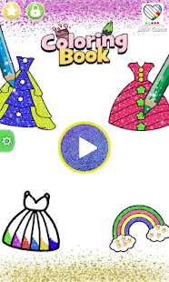 Glitter dress coloring and drawing book for Kids for pc