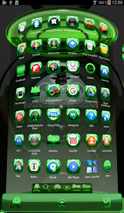Next Launcher Theme glas green - screenshot