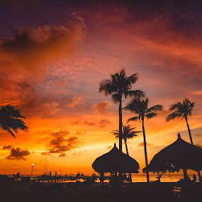 Aruba Sunset by Bryan Snider - Landscapes Sunsets & Sunrises ( clouds, sky, one happy island, color, aruba, sunset, palm trees, travel, beach, paradise, moomba, palms )