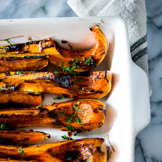 Roasted Butternut squash with Black garlic and Miso