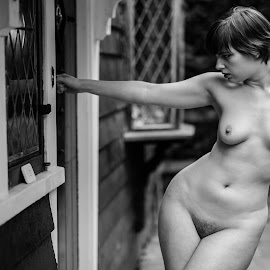 Let me In by Paul Phull - Nudes & Boudoir Artistic Nude ( body, art nude, sexy, front door, black and white, outdoors )