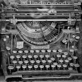 Letters And Words by Marco Bertamé - Black & White Objects & Still Life ( old, keys, vintage, typewriter, underwood, key )