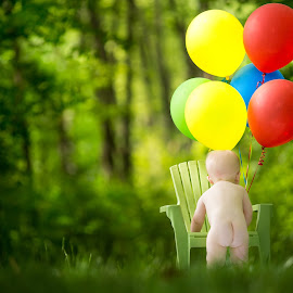 Birthday Cheeks by Mike DeMicco - Babies & Children Babies ( birthday, one, colorfull, balloons, cute, cheeks, photo, 1, shoot, butt, year, baby, boy )