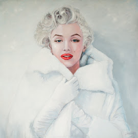 Marilyn in mink by Jocelyne Maucotel - Painting All Painting ( celebrity, marilyn monroe, painting, portrait )