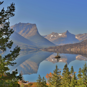 Wild Goose Island by Don Evjen - Landscapes Waterscapes ( pines, mountains, glacier park, montana, forest, island, st mary lake )