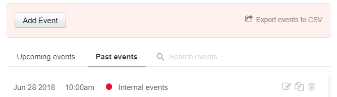 Events Calendar Past events