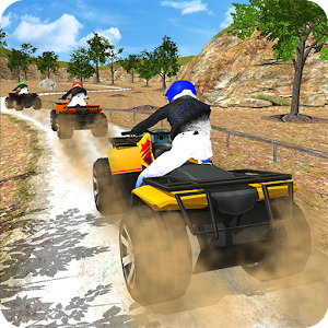 Quad ATV Rider Off-Road Racing
