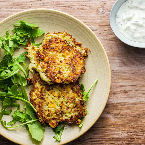 Corn And Zucchini Fritters With Tzatziki