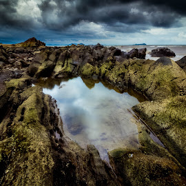 Thundershot by Gerard Macorvick - Landscapes Weather ( reflection, sea, weather, ocean, storm, rocks, coatal )