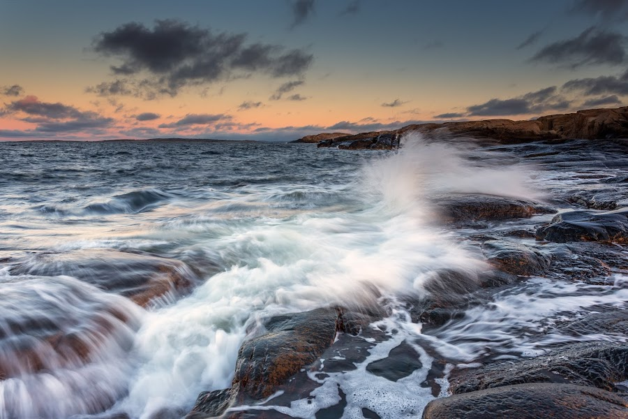 by Bent Velling - Landscapes Waterscapes ( water, clouds, ef17-40l, canon 6d, benro, hvaler;norway, waves, rocks, viker )