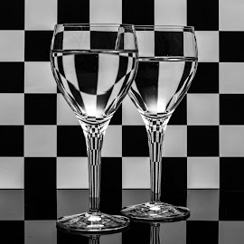 Checkered Wine Glasses by Simon Sweetman - Abstract Patterns ( water, abstract, reflection, white, glass, refraction, black )