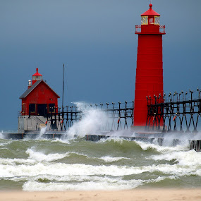 Stormy Lake Michigan by Theodore Schlosser - Landscapes Beaches ( michigan, grand haven, red, windy, lighthouse, pier, beach, sandy, storm,  )