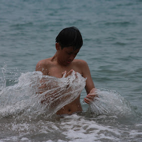 Splash by Adianca Ridhani - Nature Up Close Water ( water, beach, boy )