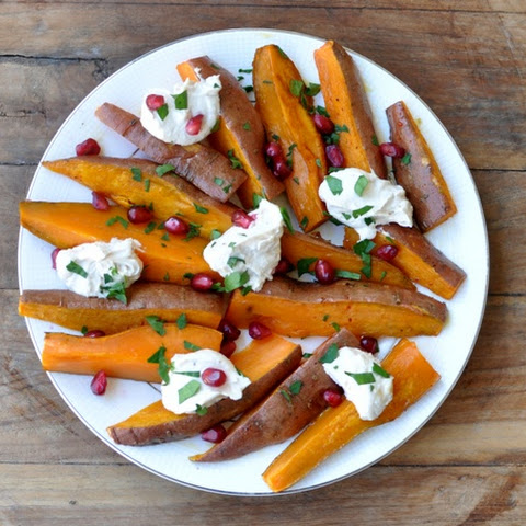 Roasted Sweet Potatoes and Tahini Yogurt