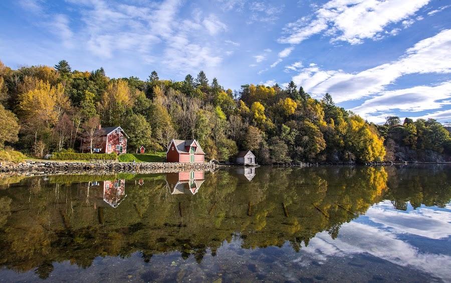Autumn by Espen Rune Grimseid - Landscapes Waterscapes ( canon, clouds, heaven, reflections, autumn colours, seascape, landscape, fjord, mirrored reflections, sky, nature, autumn, shoreline, trees,  )