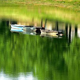 ...tri čamca na Kupi, u subotnje jutro..... by Katica Pecigoš-Kljuković - Landscapes Travel ( sisak brod čigoč rode )