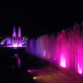 Coloured fountains at night. by Gabriel Constantinescu - City,  Street & Park  Fountains ( night photography, fountain, colored water, night shot )