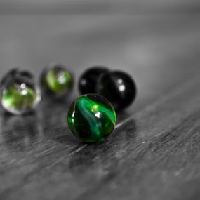 Marbles 2 by Mitzi Sibert - Artistic Objects Other Objects ( creative, green, art, toys, marbles, edit, black&white,  )