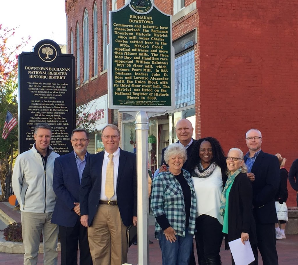 Commerce and industry have characterized the Buchanan Downtown Historic District since mill owner Charles Cowles settled here in the 1830s. McCoy's Creek supplied millraces and more than fifteen ...
