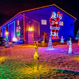 Christmas by Joseph Law - Public Holidays Christmas ( silent, farm, lightning, snow winter, christmas, holidays, night, house )