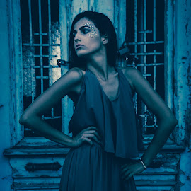 Dark Beauty by Ioannis Fine Art - People Fashion ( moda, fashion, model, girl, blue, woman, dark, beauty, people, portrait )