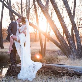 Sunset fire by Junita Fourie-Stroh - Wedding Bride & Groom