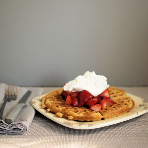 Irish Cream Waffles with Whiskey Strawberries #SundaySupper