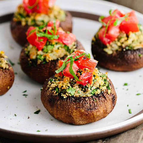 Portobello Stuffed Mushrooms with Bruschetta